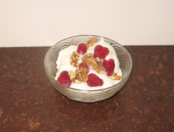 Yogurt with fruit and nuts a tasty and healthy dessert